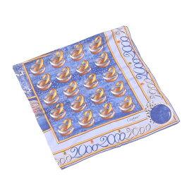 【中古】 カルティエ Cartier スカーフ 大判サイズ レディース ジュエリー ブルー×イエローゴールド系 SILK/100% 人気 L977 .