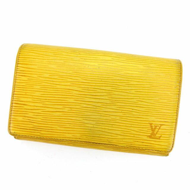 【中古】 ルイ ヴィトン Louis Vuitton L字ファスナー財布 二つ折り財布 メンズ可 ポルトモネビエトレゾール エピ タッシリイエロー エピレザー 人気 L1258 .