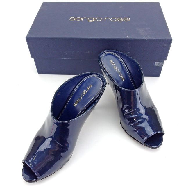 【中古】 セルジオロッシ Sergio Rossi ブーサン シューズ 靴 レディース ♯35ハーフ オープントゥ ネイビー エナメルレザー 良品 L1274
