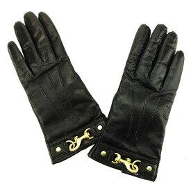 【中古】 コーチ COACH 手袋 グローブ レディース ♯6ハーフサイズ フック金具付き ブラック×ゴールド レザー(裏地)カシミア100% 人気 L1602 .