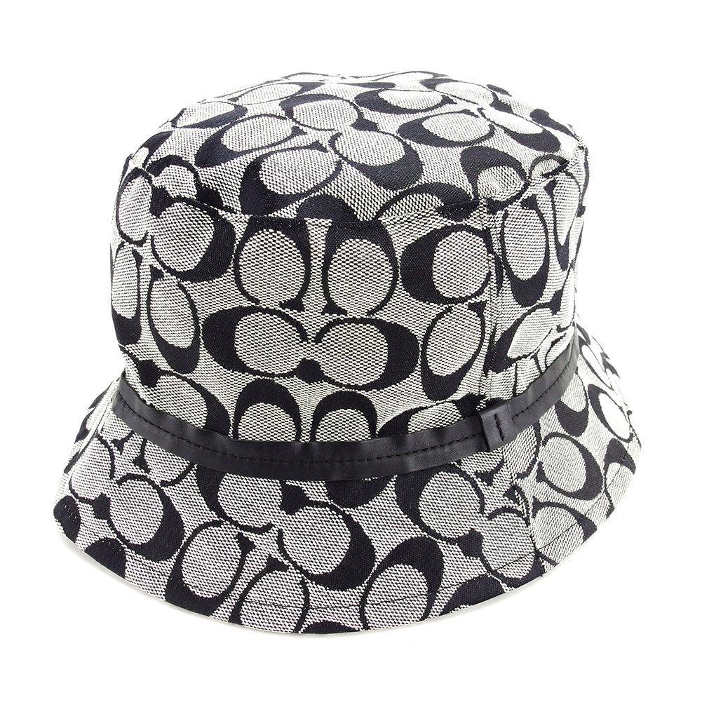 【中古】 コーチ COACH 帽子 ハット バケットハット メンズ可 シグネチャー ネイビー キャンバス×レザー 美品 L1641