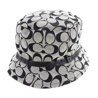 Coach COACH hat hat pail hat men's possible signature navy canvas X leather beauty product sale L1641