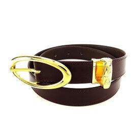 【中古】 ディオール Dior ベルト レディース ブラウン×ゴールド レザー 人気 良品 L1642 .