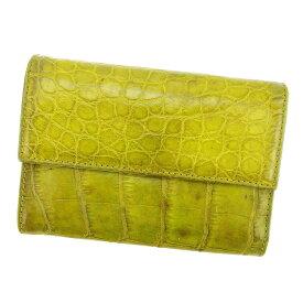 【中古】 プラダ PRADA 三つ折り財布 財布 メンズ可 クロコダイル型押し グリーン系 レザー 人気 L1690 .