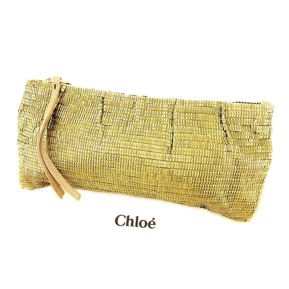 【中古】 クロエ Chloe クラッチバッグ ポーチ パーティーバッグ バッグ メンズ可 ゴールド 人気 L1699