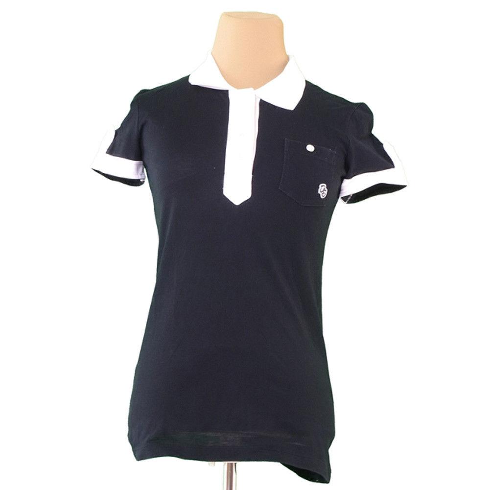 【中古】 ドルチェ&ガッバーナ DOLCE&GABBANA ポロシャツ 半袖 レディース ♯Sサイズ ドルガバ D&Gワッペン ブラック×ホワイト 人気 L1733