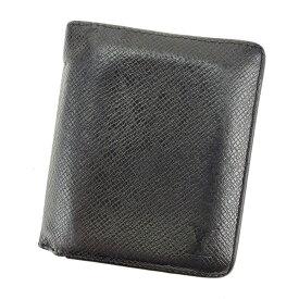 【中古】 ルイヴィトン Louis Vuitton 二つ折り 財布 ミニ財布 メンズ ポルトフォイユマジェラン タイガ アルドワーズ(ブラック) タイガレザー 人気 L1790