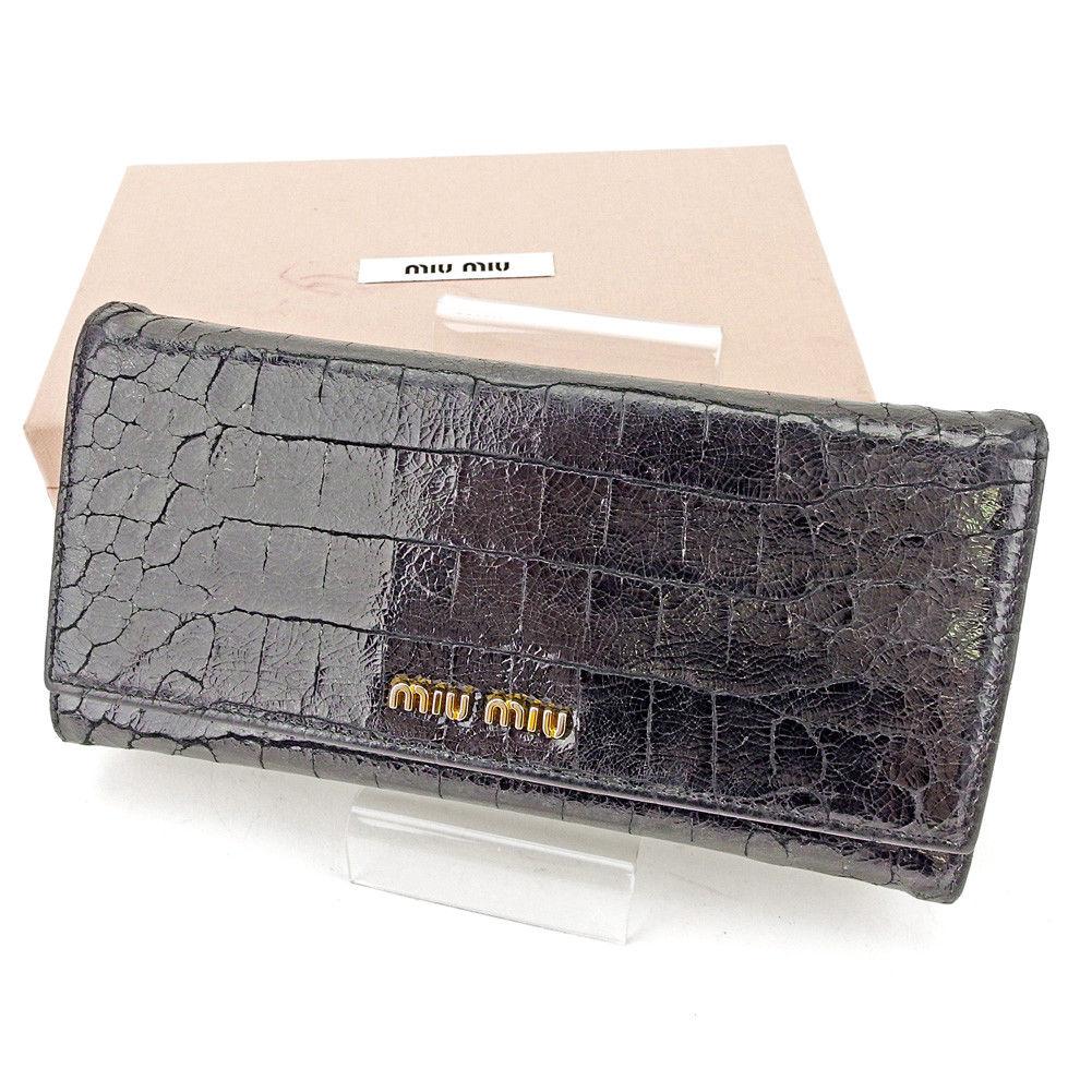 【中古】 ミュウミュウ miu miu 長財布 ファスナー付き 財布 レディース クロコダイル調 ブラック×ゴールド 型押しレザー 人気 L1968