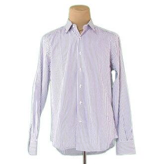 Salvatore Ferragamo Salvatore Ferragamo shirt long sleeves men ♯ 43 17 size stripe white X navy C/100% popularity quality goods L2245.