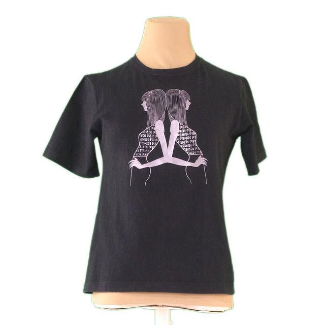 【中古】 フェンディジーンズ FENDI jeans Tシャツ レディース ガールプリント ブラック×グレー C/100% 人気 L2246 .
