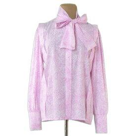 【中古】 ディオール Dior ブラウス スカーフ付き レディース ♯Mサイズ プリント ホワイト×ピンク ポリエステル/100% 人気 L2319 .