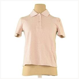 【中古】 ミュウミュウ miu miu ポロシャツ 半袖 レディース ♯Sサイズ バックプリント ベージュ×ピンク系 綿100% 良品 L2398 .