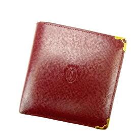 【中古】 カルティエ 二つ折り財布 マストライン ボルドー Cartier 二つ折りサイフ 財布 サイフ 収納ブランド財布 2つ折り財布 ユニセックス 小物 人気 贈り物 迅速発送 在庫処分 1点物 【カルティエ】 N218