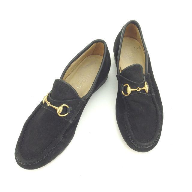 【中古】 グッチ ローファー シューズ 靴 Gucci ブラック×ゴールド N332s