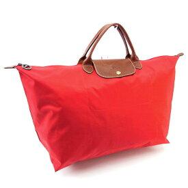 【残り1点】 【中古】 ハンドバッグ エコバッグ レッド×ブラウン×ゴールド ホース ロンシャン 在庫一掃 男性 女性 ブランド 送料無料 おしゃれ P087