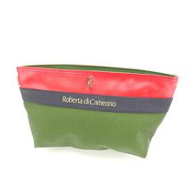 【中古】 ロベルタディカメリーノ ROBERTA DI CAMERINO セカンドバッグ クラッチバッグ Rマーク グリーン×レッド×ネイビー PVC×レザー 人気 良品 P243 .