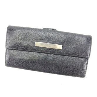3115f4bb9ca Gucci GUCCI long wallet W hook man and woman combined use logo plate black  X silver leather (correspondence) popularity sale P388