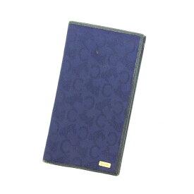 【中古】 セリーヌ CELINE 長札入れ 二つ折り財布 レディース ネイビー P419