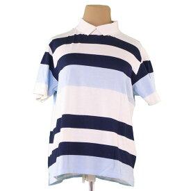 【中古】 バレンシアガ BALENCIAGA BB カットソー 衿付き 半袖 レディース ♯Mサイズ ゴルフライン アイボリー×ブルー×ネイビー コットン綿100% P648