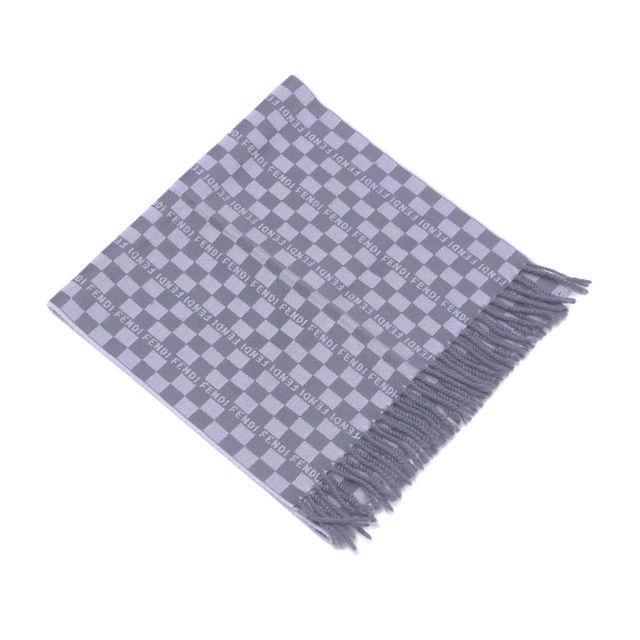 【中古】 フェンディ FENDI マフラー フリンジ付き ブロックチェック グレー ウール/100% 人気 良品 Q266
