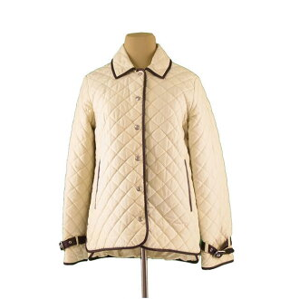 Coach COACH jacket single logo button Lady's ♯ XS size leather piping quilting beige X brown X silver NY/51 % C/49 % (lining) PE/100 % (piping) leather (correspondence) deep-discount immediate delivery S040.