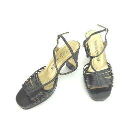 【中古】 イヴサンローラン サンダル シューズ 靴 ♯36 チャンキーヒール Tストラップ ブラック×ゴールド YVES SAINT LAURENT 【イヴサンローラン】 T12182 brand