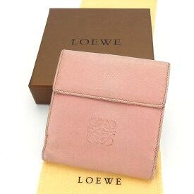 【中古】 ロエベ LOEWE Wホック財布 二つ折り財布 ピンク レディース メンズ ユニセックス サイフ 小物 ブランド 人気 贈り物 財布 収納 在庫一掃 迅速発送 在庫処分 男性 女性 良品 1点物 T12688 .