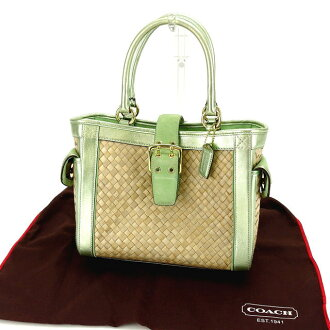 教练COACH大手提包筐子包女士皮带设计4419天然×绿色×黄金吸管×皮革(对应)人气促销S353。