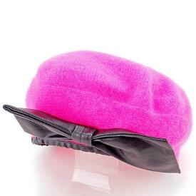 【中古】 マークバイ マークジェイコブス MARC BY MARC JACOBS 帽子 ベレー帽 レディース ピンク×ブラック 毛70%アンゴラ20%ナイロン10%(繊他)綿100% T10929