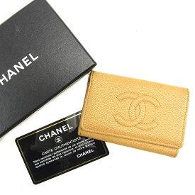 73ba0d27827e 【中古】 シャネル Chanel キーケース 6連キーケース ベージュ キャビアスキン レディース T1048s