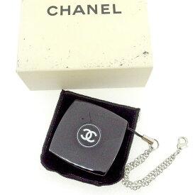 【中古】 シャネル Chanel コンパクトミラー ストラップ付き ブラック ココマーク レディース T1549s .