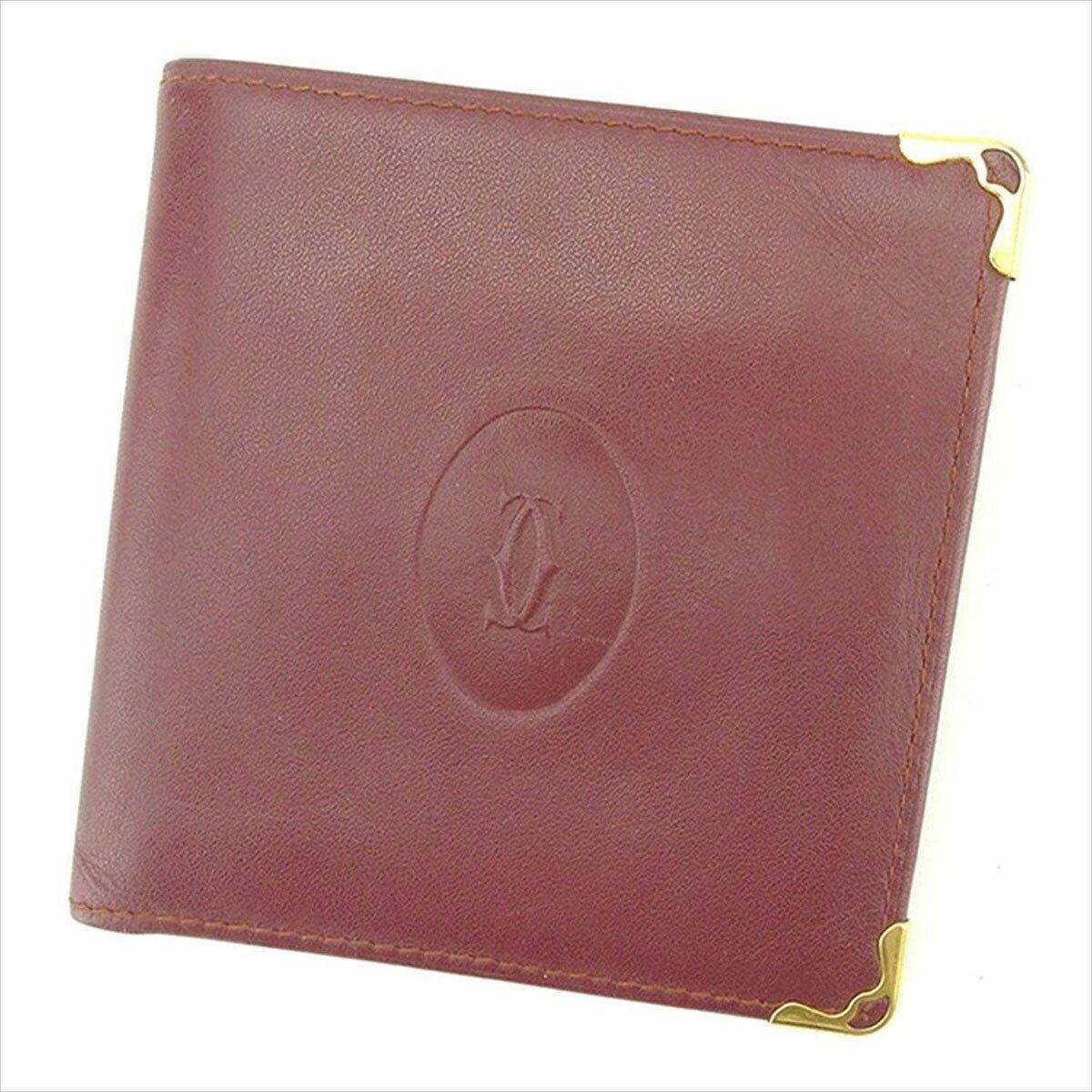 【中古】 カルティエ Cartier 二つ折り財布 財布 レディース メンズ 可 マストライン ボルドー レザー 人気 T1625 .