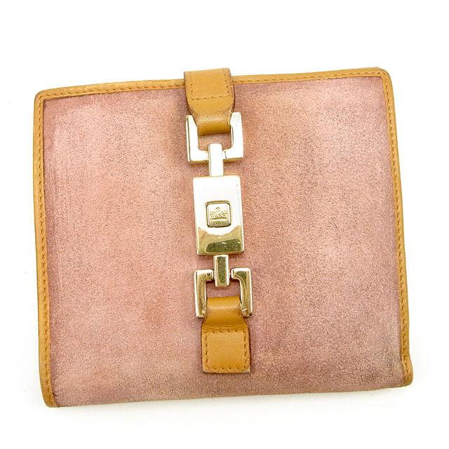 【中古】 グッチ Gucci Wホック財布 財布 二つ折り財布 財布 キャメル×ピンク×ゴールド ジャッキー金具 レディース T175s