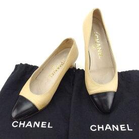 eec8e179b6ba 中古 【中古】 シャネル Chanel パンプス シューズ 靴 ベージュ×ブラック ♯35 ラウンドトゥ バイカラー レディース T1753s . .