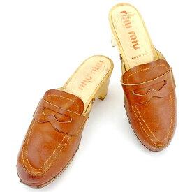 【中古】 ミュウミュウ miu miu サンダル シューズ 靴 レディース ♯37 サボサンダル ブラウン×ベージュ系 レザー×ウッド 人気 T1938 .