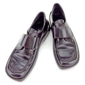 【中古】 プラダ ローファー シューズ 靴 スクエアトゥ ダークブラウン系 レザー PRADA T1941