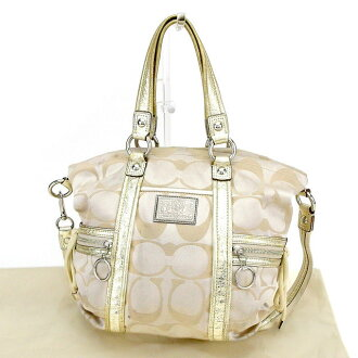 Coach 2WAY shoulder bag handbag Coach beige X gold X silver system T2054s