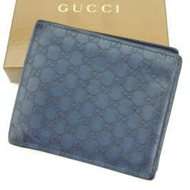 be8128a2d1de 中古 【中古】 グッチ Gucci 二つ折り札入れ 二つ折り財布 レディース メンズ 可 グッチシマ ブルー レザー 人気 T2107