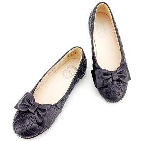 【10%オフクーポン】 【マラソン】 【残り1点】 【中古】 ディオール Dior パンプス シューズ 靴 大人可 ガールズ レディース ♯33 リボン付き ブラック レザー 【ディオール】 T2520