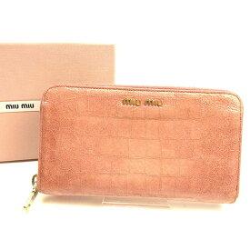 f2b8113a8aab 【中古】 ミュウミュウ Miu Miu 長財布 財布 ラウンドファスナー ピンク×ゴールド クロコダイル