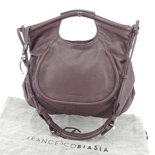 【中古】 フランチェスコビアジア FRANCESCO BIASIA ハンドバッグ ショルダーバッグ メンズ可 ブラウン レザー 美品 T527 .