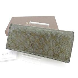 bf9aab0a3b44 【中古】 グッチ Gucci ジップ長財布 財布 二つ折り財布 財布 カーキ GGインプリメ