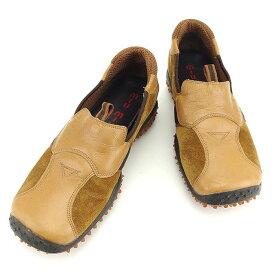【中古】 ミュウミュウ Miu Miu シューズ 靴 ベージュ×ブラウン ♯5ハーフ 異素材切替え メンズ T871s .
