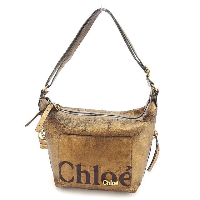 【中古】 クロエ Chloe ショルダーバッグ 斜めがけショルダー メンズ可 エクリプス ブロンズ×ブラウン×ゴールド レザー 訳あり T918