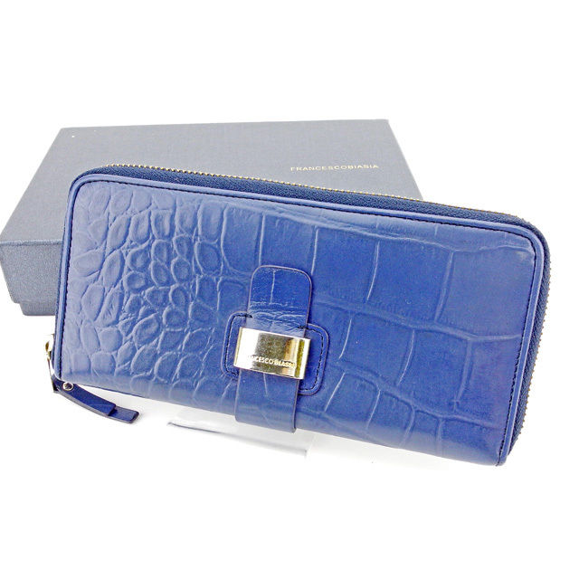 【中古】 フランチェスコビアジア FRANCESCO BIASIA ラウンドファスナー 財布 長財布 財布 メンズ可 クロコダイル型押し ブルー×ゴールド レザー 人気 T2949 .