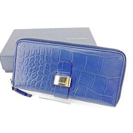 【中古】 フランチェスコビアジア Francesco Biasia ラウンドファスナー 財布 財布 長財布 財布 財布 財布 ブルー×ゴールド クロコダイル型押し メンズ可 T2949s .