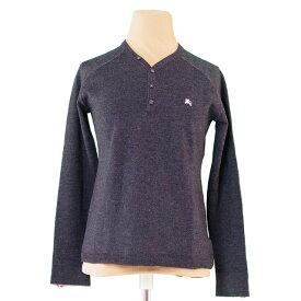 【中古】 バーバリー ブラックレーベル BURBERRY BLACK LABEL ニット 長袖 セーター レディース メンズ 可 ♯1サイズ ホース刺繍 グレー×ピンク ウール羊毛100% T2952 .