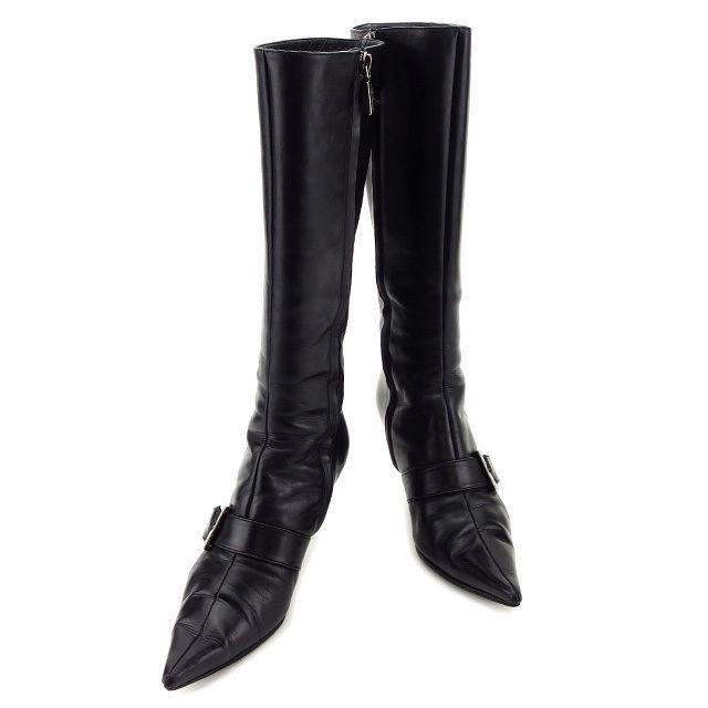 【中古】 ブルーノマリ BRUNOMAGLI ブーツ シューズ 靴 レディース ♯36 ポインテッドトゥ ロング ベルト付き ブラック×ブラックシルバー レザー 人気 T2993