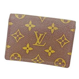 【中古】 ルイ ヴィトン Louis Vuitton 定期入れ パスケース ブラウン ポルト2カルトヴェルティカル モノグラム メンズ可 T3625s .