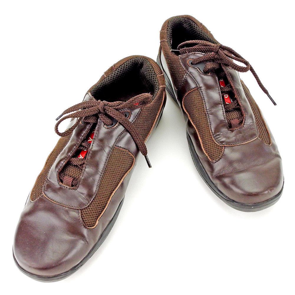 【中古】 プラダ PRADA スニーカー シューズ 靴 メンズ ♯41 ローカット スポーツライン ブラウン×ブラック×レッド メッシュ×レザー×スエード 人気 T3692